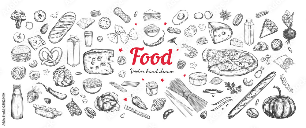 Fototapety, obrazy: Big vector set of healthy food ingredients. Hand drawn sketches. Isolated objects