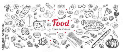 Foto Big vector set of healthy food ingredients