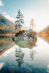 Fototapeta Vintage Lake Hintersee at sunset, Bavaria, Germany