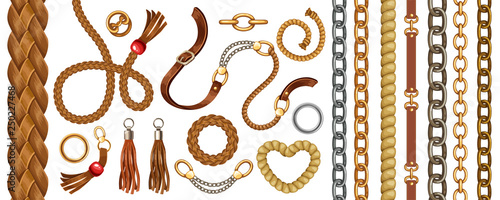 Fényképezés  Set with belts and gold and silver chains, fringe for fabric design, wallpapers, prints