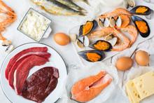 Assortment Of Healthy Vitamin B12, Cobalamin Source Food