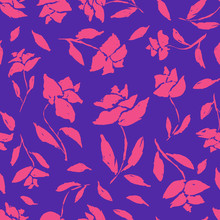 Bright Contrast Blue Vintage Seamless Pattern With Pink Roses And Leaves Silhouettes. Romantic Retro Flowers Texture For Textile, Wrapping Paper, Surface, Wallpaper, Background, Package