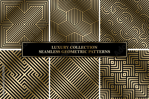 Collection of art deco vector geometric striped patterns - seamless luxury gold gradient design. Rich backgrounds.