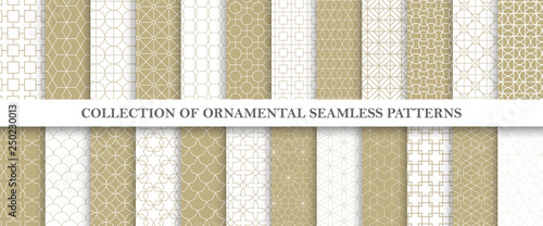 Türaufkleber Künstlich Collection of repeatable ornamental vector patterns. Grid geometric oriental backgrounds.
