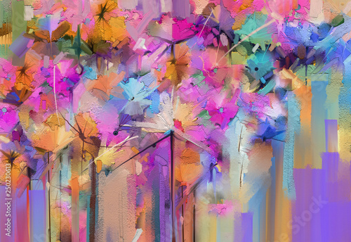 Wall Murals Green coral Abstract colorful oil, acrylic painting of spring flower. Hand painted brush stroke on canvas. Illustration oil painting floral for background. Modern art paintings flowers with yellow, red color.