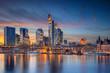 canvas print picture Frankfurt am Main, Germany. Cityscape image of Frankfurt am Main skyline during beautiful sunset.