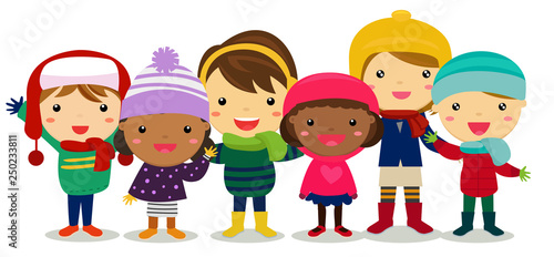 Group of children in winter clothes