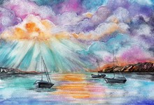Boats In The Sea By Watercolor