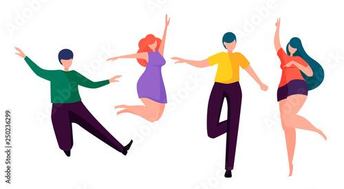 Fotografía  Happy people dancing. Faceless cartoon characters