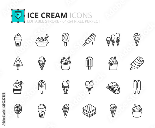Outline icons about ice cream Fotobehang