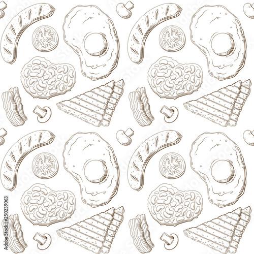 Photo  English breakfast seamless pattern.
