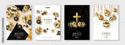 Fotografie, Obraz  Easter black and gold posters