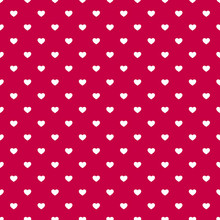 Valentines Day Seamless Pattern With Small White Hearts On Red Background