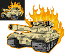 Battle Tank On Fire, Variant On Black And White Background, Battle Tank Colored Drawing. Vector Graphic To Design