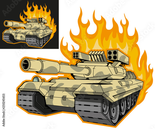 Photo battle tank on fire, variant on black and white background, battle tank colored drawing