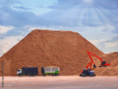 Fototapeta Backoe pick up woodchips from trucks and storage in outdoor yard , Pile of wood chips to storage in outdoor yard for export