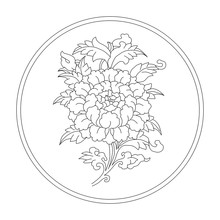 Lotus.. Eight Auspicious Symbols Of Buddhism. Valuable. Black And White Drawing