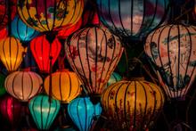 Traditional Colorful Asian Lanterns At Night
