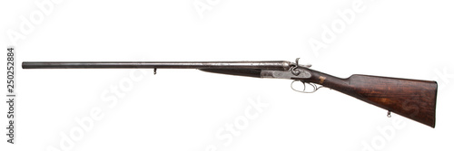 Vintage double-barreled hunting rifle isolated on a white back. Canvas Print