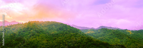 Tuinposter Purper Travel and landscape in spring and summer concept from panorama view of tropical forest with layer of mountain and cloudy background
