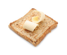 Tasty Toasted Bread With Butter Curls On White Background