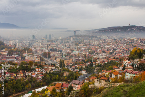 Fototapety, obrazy: View from the high point to Sarajevo in the mist in the morning. Bosnia and Herzegovina