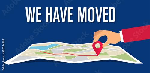 Photo We have moved, changed address navigation, flat illustration vector