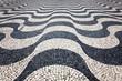 Mosaic pavement, black and white, wavelike pavement, Rossio Square, Lisbon, Portugal, Europe