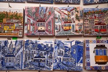 Souvenirs, Miniatures Of Traditional Azulejo Tiles, Lisbon, Portugal, Europe