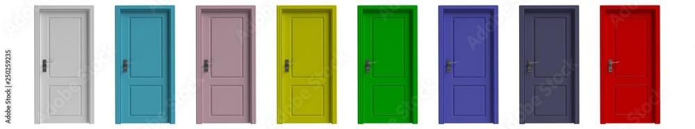 Obraz Set of various colors closed doors isolated cutout on white background. 3d illustration fototapeta, plakat