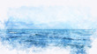 canvas print picture - Abstract sea soft wave watercolor illustration painting backgroud.
