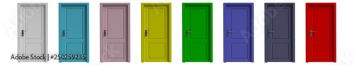 Set of various colors closed doors isolated cutout on white background Wallpaper Mural