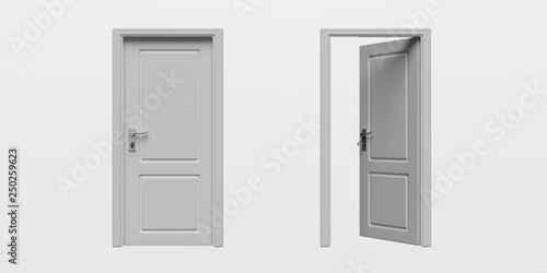 Photo Set of closed and open doors isolated cutout on white background