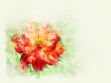 Abstract colorful flower blooming on watercolor illustration painting background.