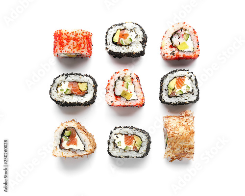 Photo Stands Sushi bar Tasty sushi rolls on white background