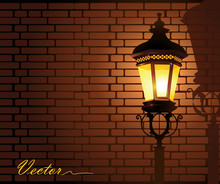 Glowing Street Lamp Against A ...