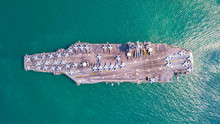 Top View Of Aircraft Carrier O...