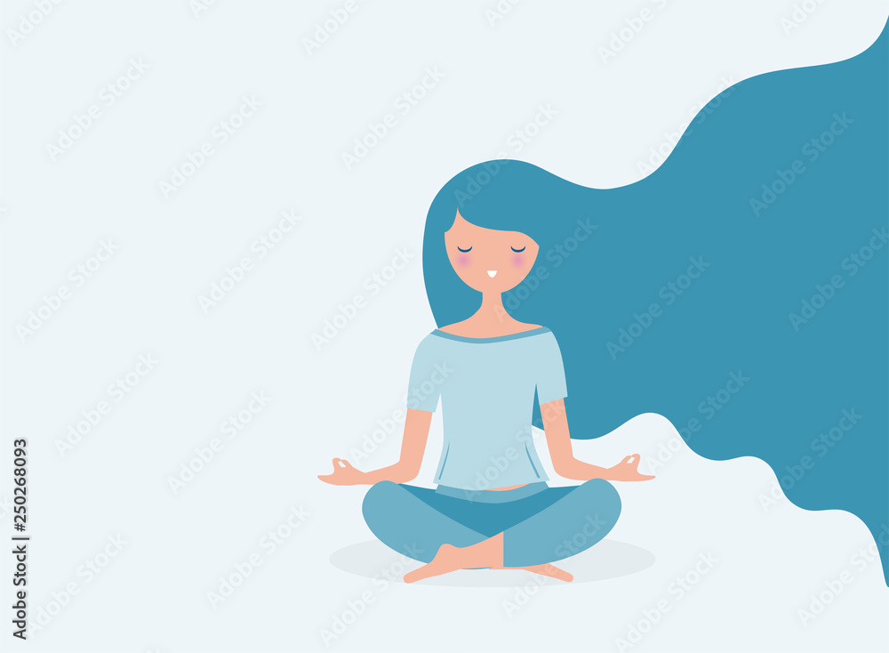 Fototapeta Young woman meditating vector. Relax concept illustration. Modern long hair flowing.