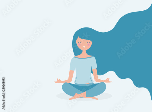 Obraz Young woman meditating vector. Relax concept illustration. Modern long hair flowing. - fototapety do salonu