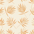 Palm leaves silhouette on the light beige background. Vector seamless pattern with tropical plants.