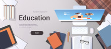 University Student Workplace E-learning Online Education Concept Top Angle View Desktop With Books And Computer Monitor Office Stuff Horizontal Copy Space