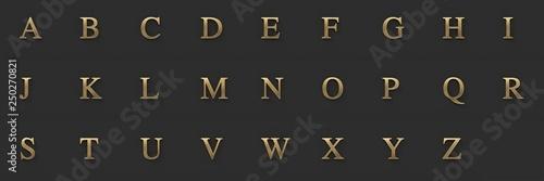 Valokuva  Capital letters, gold metallic with serif, ultra resolution, dark background