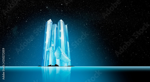Photo Stands Fantasy Landscape Iceberg in Phantasy Landscape