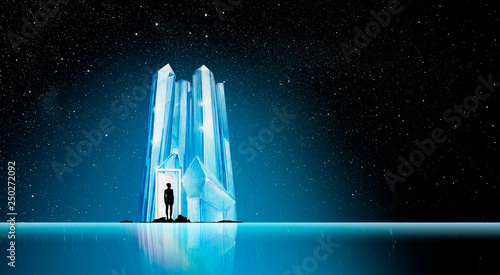 Poster Fantasy Landscape door to an Iceberg