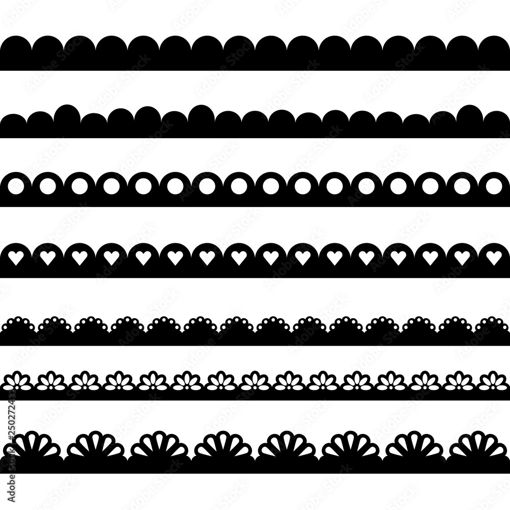 Fototapety, obrazy: Scalloped edge collection. Clipart image isolated on white background