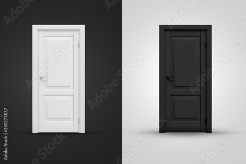 3d rendering of two contrast doors in white and black colors on background of opposite shade Canvas Print