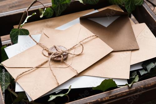 Many letters in box, closeup Fotobehang