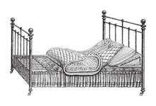 Old Bed / Vintage Illustration