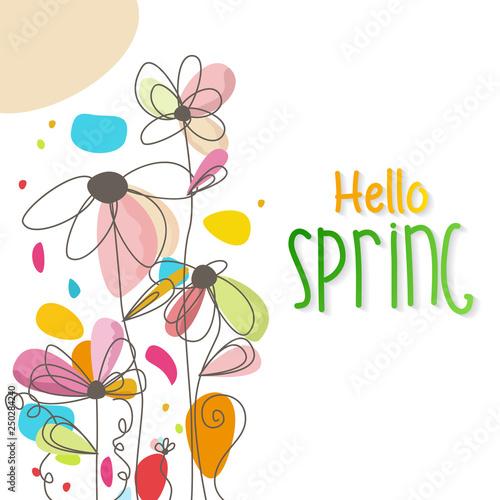Spoed Fotobehang Abstract bloemen Hello spring. Spring Background. Spring design background with abstract beautiful colorful flower. Vector illustration. Wallpaper. flyers, posters, brochure, voucher discount.