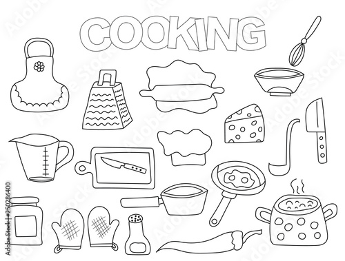 Cooking Set Of Icons And Objects Hand Drawn Doodle Kitchen